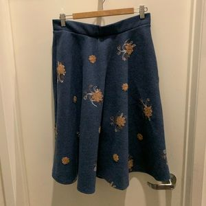 Chicwish A-line embroidered midi-skirt